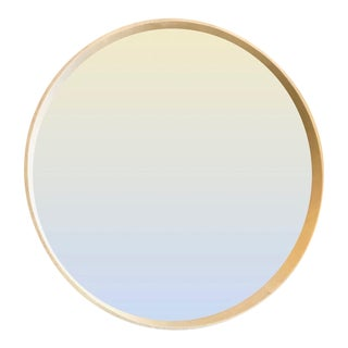 Round Faux Shagreen Mirror in Cream For Sale