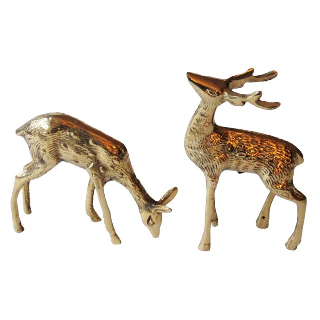 Brass Buck & Doe Figurines - a Pair For Sale