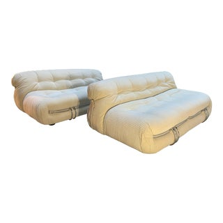 Afra & Tobia Scarpa Two-Seat Soriana Sofa Set for Cassina Italy 1970s - a Pair For Sale