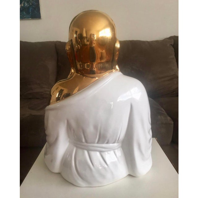 Large Italian Gold& White Buddha Statue For Sale - Image 4 of 8