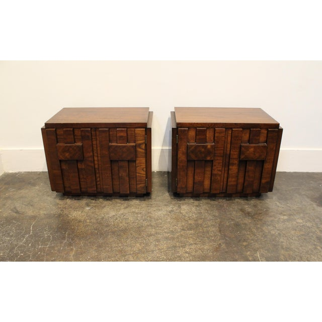 Altavista Lane Pair of 1970s Mid-Century Modern Brutalist Nightstands by Lane For Sale - Image 4 of 8