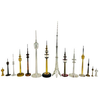 Collection Vintage Space Age Looking Tv Tower Models Circa 1950-1970 From Europe For Sale