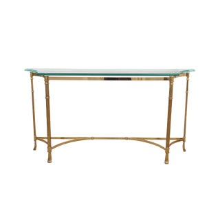 1980s Hollywood Regency Solid Brass and Glass Italian Console Table For Sale