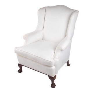 Wingback Chair on Claw and Ball Foot, Mahogany Frame For Sale