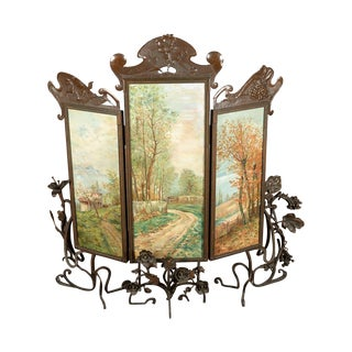 Antique Art Nouveau Three-Panel Copper Screen