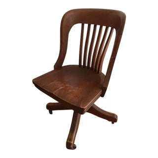Late 19th Century Americana Johnson Chair Co Wooden Rolling Office Chair