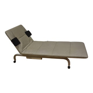 Baker Prototype Grey Leather Chaise Lounge For Sale