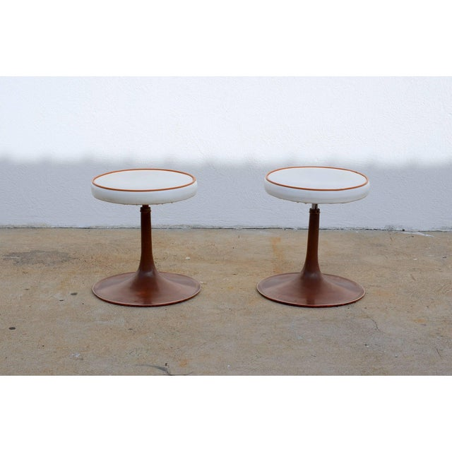 Mid-Century Modern Thinline Cast Aluminum Upholstered Swiveling Stools - a Pair For Sale - Image 3 of 6