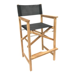 Captain Bar Foldable Teak Outdoor Bar Stool with Arms and a Black Textilene Fabric For Sale