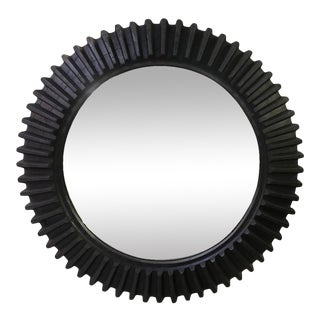 Large American Wooden Cog Wheel Now Mounted as a Mirror For Sale
