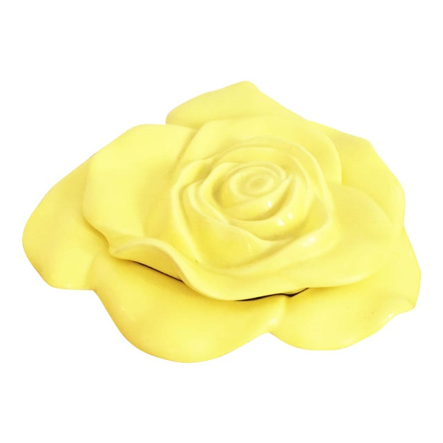 Vintage Ceramic Yellow Rose Dish For Sale