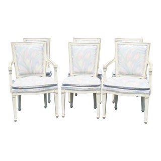 Distressed Cream Painted Dining Chairs - Set of 6 For Sale
