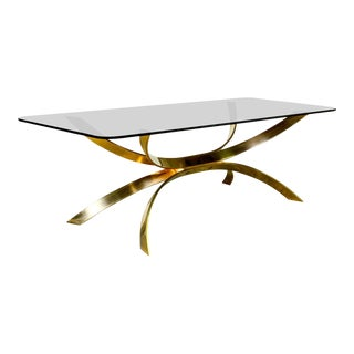 Mid-Century Modern Italian Design Sculptured Brass and Smokey Glass Coffee Table after Osvaldo Borsani, 1960s