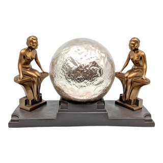 1930's Nuart Art Deco Double Nude & Glass Globe Table Lamp For Sale
