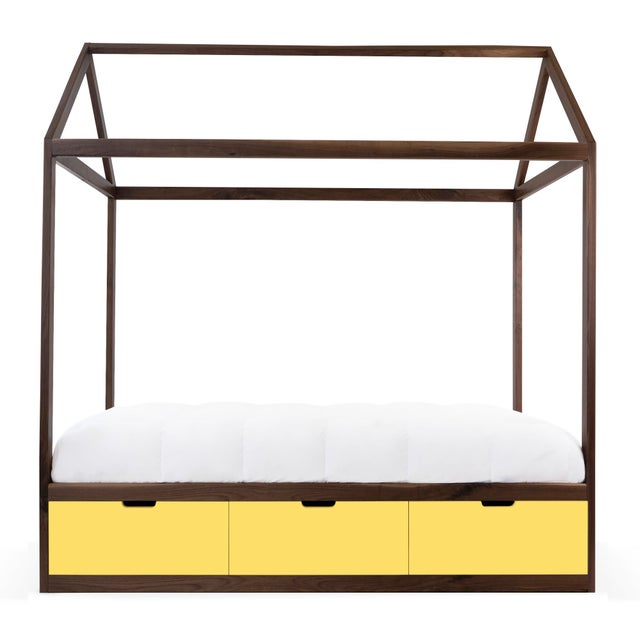 Contemporary Domo Zen Twin Canopy Bed in Walnut With Yellow Finish Drawers For Sale - Image 3 of 3