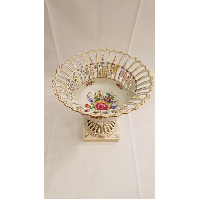 Ceramic Dresden Porcelain Compote With Applied Flowers and Pierced Bowl 7.75 Inches Tall For Sale - Image 7 of 8