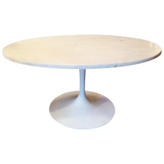Mid-Century Modern Tulip Base Coffee Table With Oval Marble Top For Sale