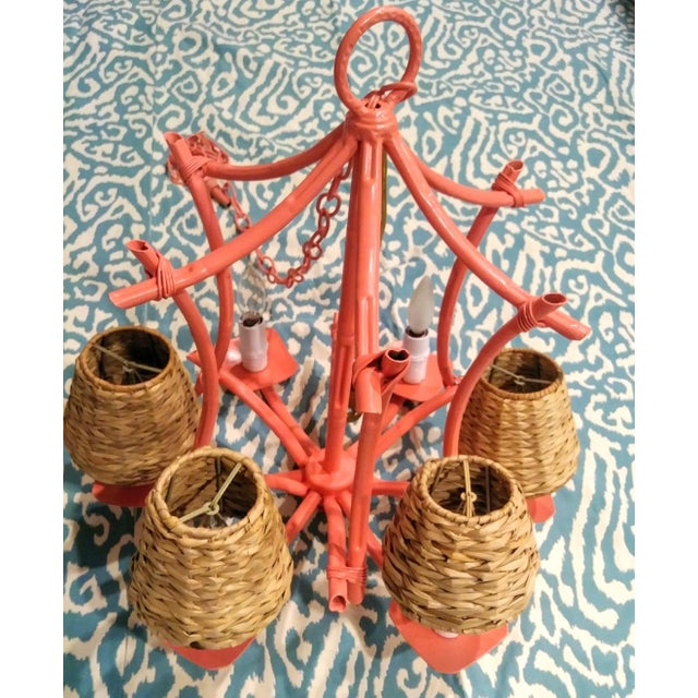 1970s Vintage Faux Bamboo Pagoda 6 Light Coral Painted Palm Beach Regency Chandelier Light Fixture For Sale - Image 5 of 10