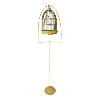 Vintage Gold Metal Round Birdcage with Stand
