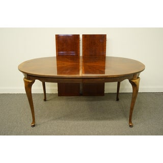 """20th Century Traditional American Drew Cherry Grove Collection 98"""" Oval Bookmatched Banded Dining Table Preview"""