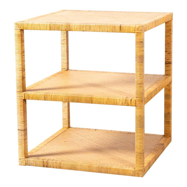Modern Woven Rattan Side Table For Sale