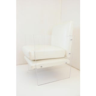 Vintage Mid Century Modern Clear Lucite & White Upholstered Arm Chair Preview