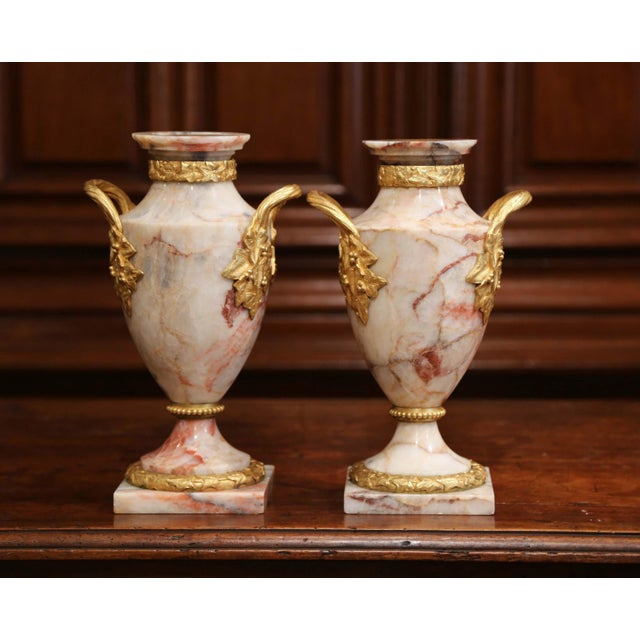 Pair of 19th Century French Beige Marble and Bronze Dore Cassolettes Vases For Sale - Image 4 of 7