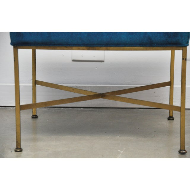 Brass Pair of Brass X-Base Stools by Paul McCobb For Sale - Image 7 of 7