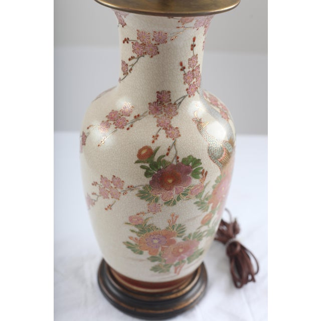 Chinoiserie Peacock and Cherry Blossom Brass Lamp - Image 3 of 7