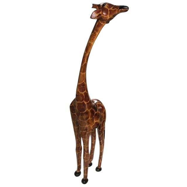 Tall Hand-Carved Wood Standing Giraffe - Image 1 of 6