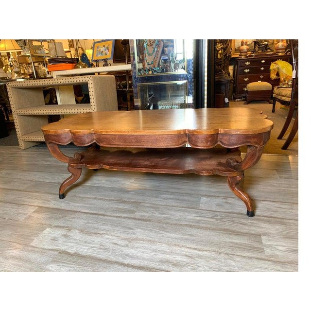 1940s Rustic Distressed Finish Inlaid Mahogany Coffee Table For Sale - Image 9 of 13