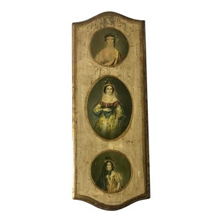 Vintage Italian Neoclassical Triple Portrait - Gilt Framed For Sale