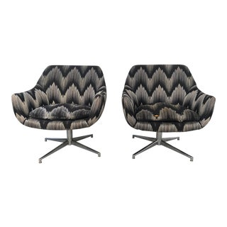 Modern Overman Style Swivel Lounge Chairs - a Pair For Sale