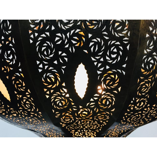 Islamic Large Brass Moroccan Chandelier For Sale - Image 3 of 12