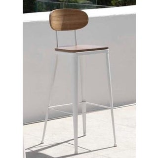 New Industrial Wrought Iron Shop Stool With Wooden Seat and Back Preview