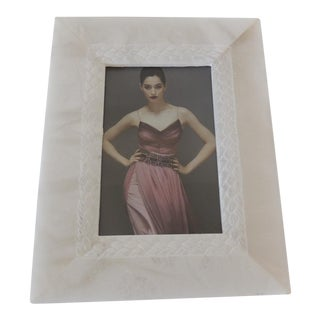 White Marble Picture Frame With Hand Carved Inset Border For Sale