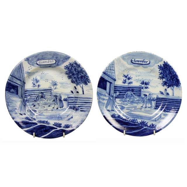 Blue Collection of Delft Blue and White Month Plates - Set of 14 For Sale - Image 8 of 13