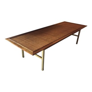 Drexel Kipp Stewart Pacific Coast Rattan & Brass Mid Century Modern Coffee Table For Sale