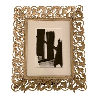 Original Black and White Painting in Vintage Gold Frame For Sale