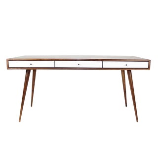 Mid-Century Modern Walnut Desk With Cord Management