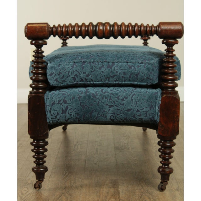 Wood Antique 19th Century Bobbin Turned End of Bed or Window Bench For Sale - Image 7 of 13