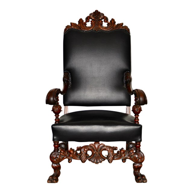 19th Century Jacobean Walnut Hand Carved Arm Chair W/ Leather Upholstery For Sale