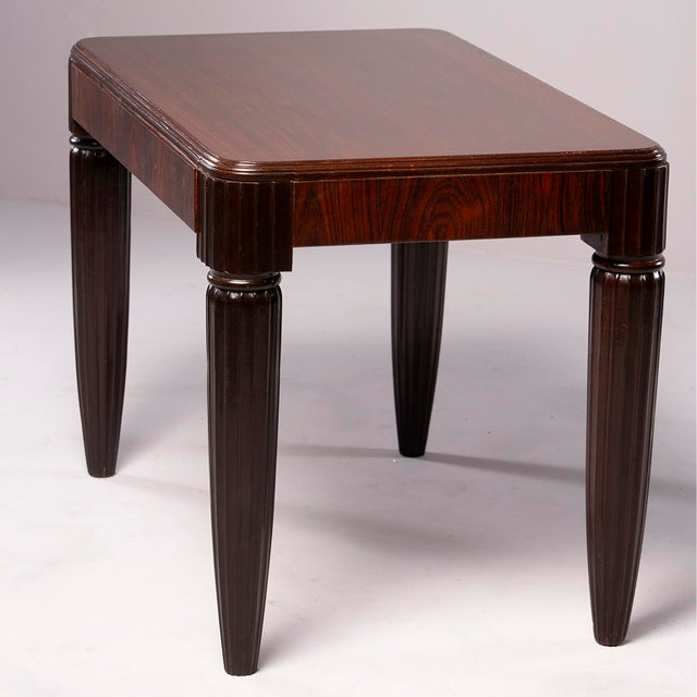 Brass 1930s French Rosewood Writing Table With Fluted Legs For Sale - Image 7 of 12