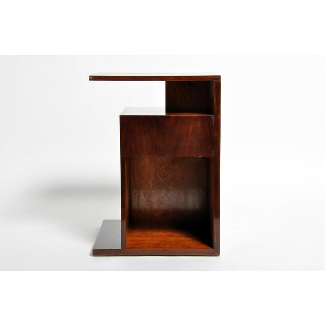 Hungarian Walnut and Maple Veneer Side Table With Shelves For Sale - Image 4 of 13