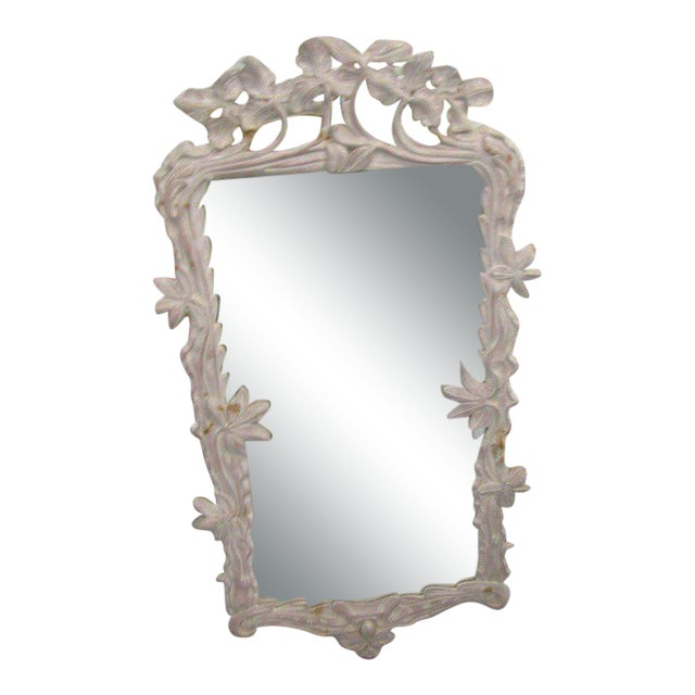 White Carved Flower Vine Mirror, Late 20th Century For Sale
