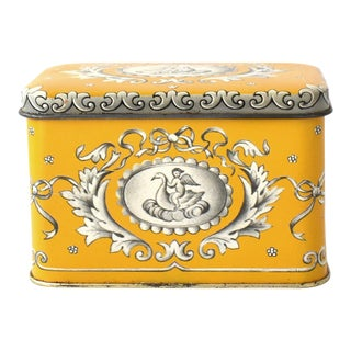 Vintage English Neoclassical Tea Tin For Sale
