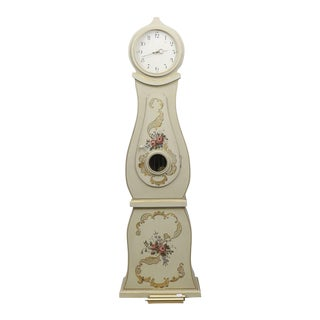 Swedish Mora Clock With Hand Painted Floral Details For Sale