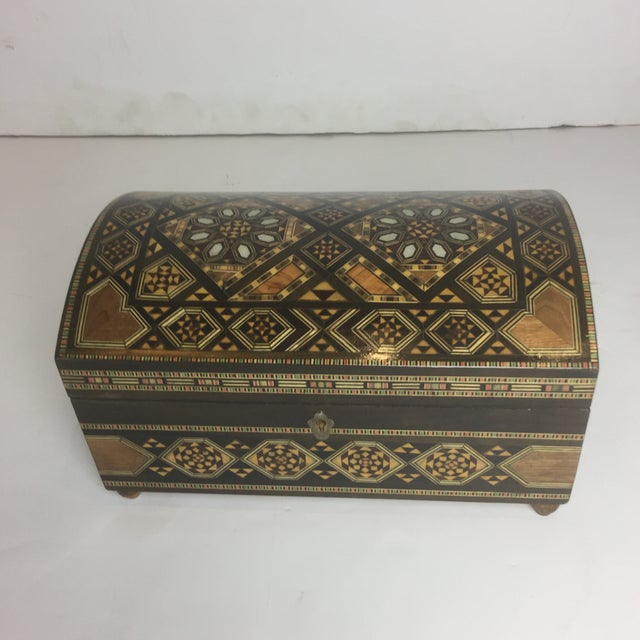 Handcrafted Inlaid Wood Moorish Jewelry Box For Sale - Image 13 of 13