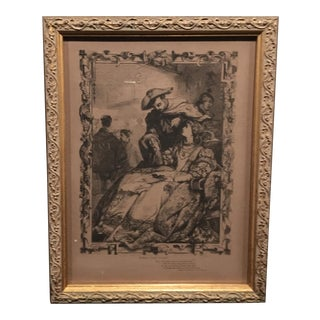 Mid-1800s English Engraving by William Luson Thomas of Shakespeare's Romeo and Juliette, Framed For Sale