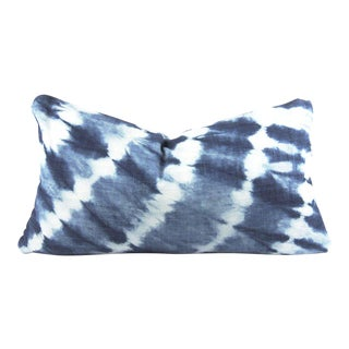 Blue Shibori African Mudcloth Small Lumbar Pillow For Sale